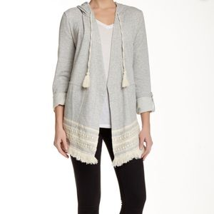 Democracy crochet fringe French terry cardigan L